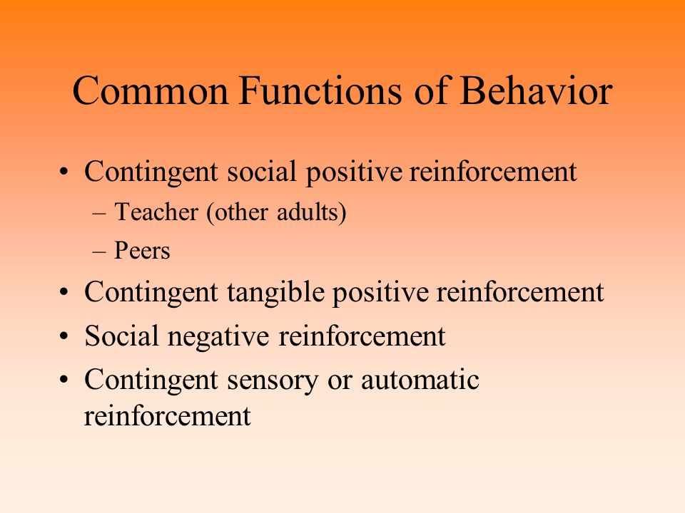 Common Functions of Behavior