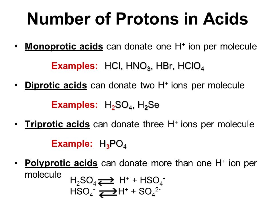 Number of Protons in Acids