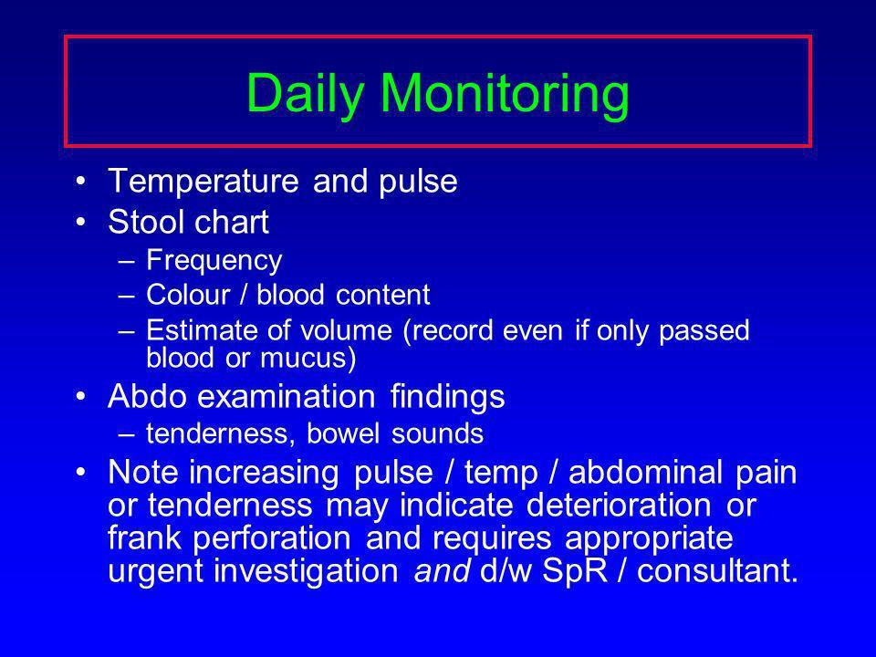 Daily Monitoring Temperature and pulse Stool chart