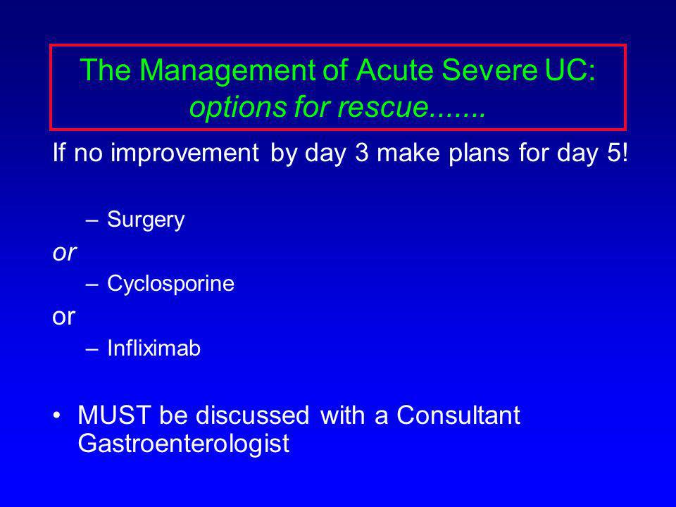 The Management of Acute Severe UC: options for rescue.......