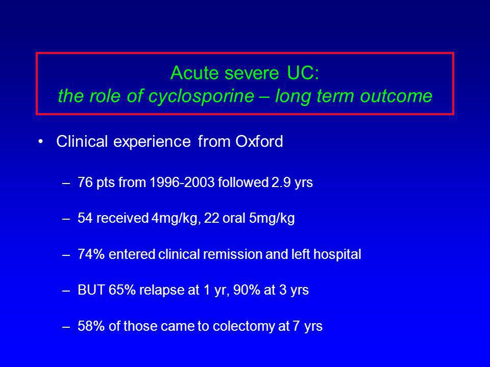 Acute severe UC: the role of cyclosporine – long term outcome