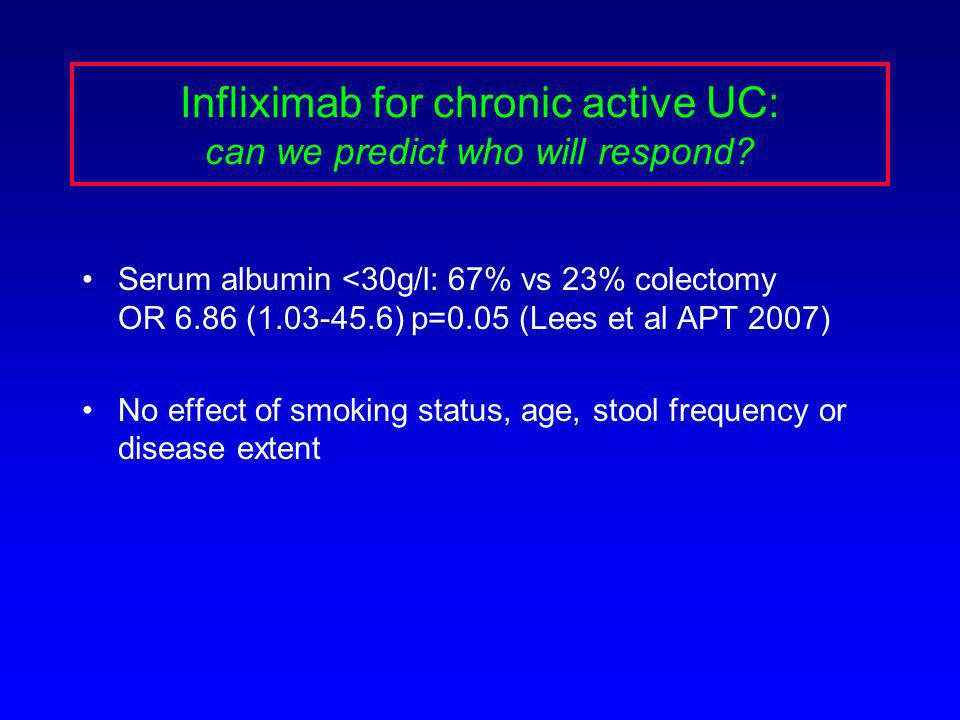 Infliximab for chronic active UC: can we predict who will respond