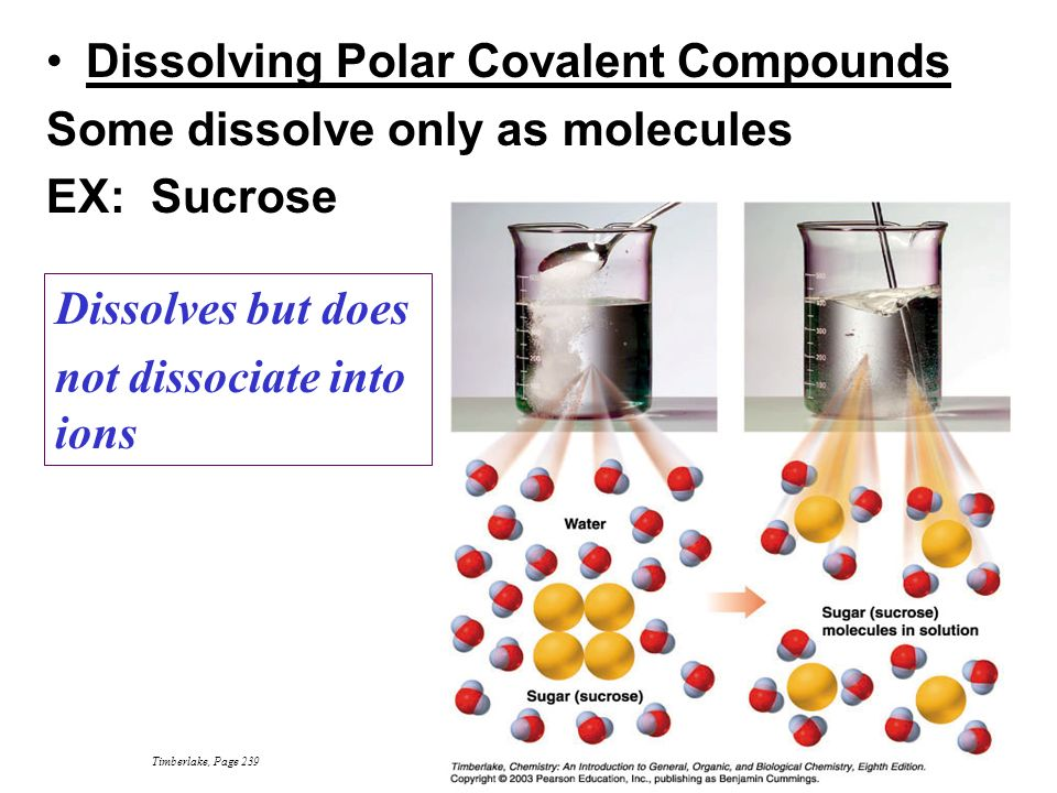 Dissolving Polar Covalent Compounds Some dissolve only as molecules