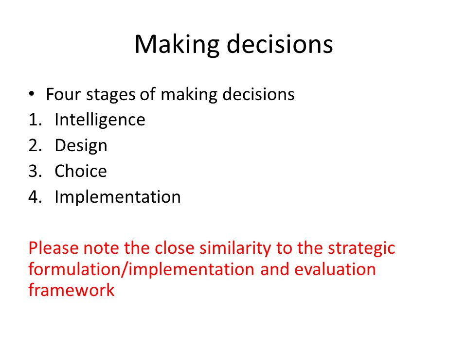 Making decisions Four stages of making decisions Intelligence Design