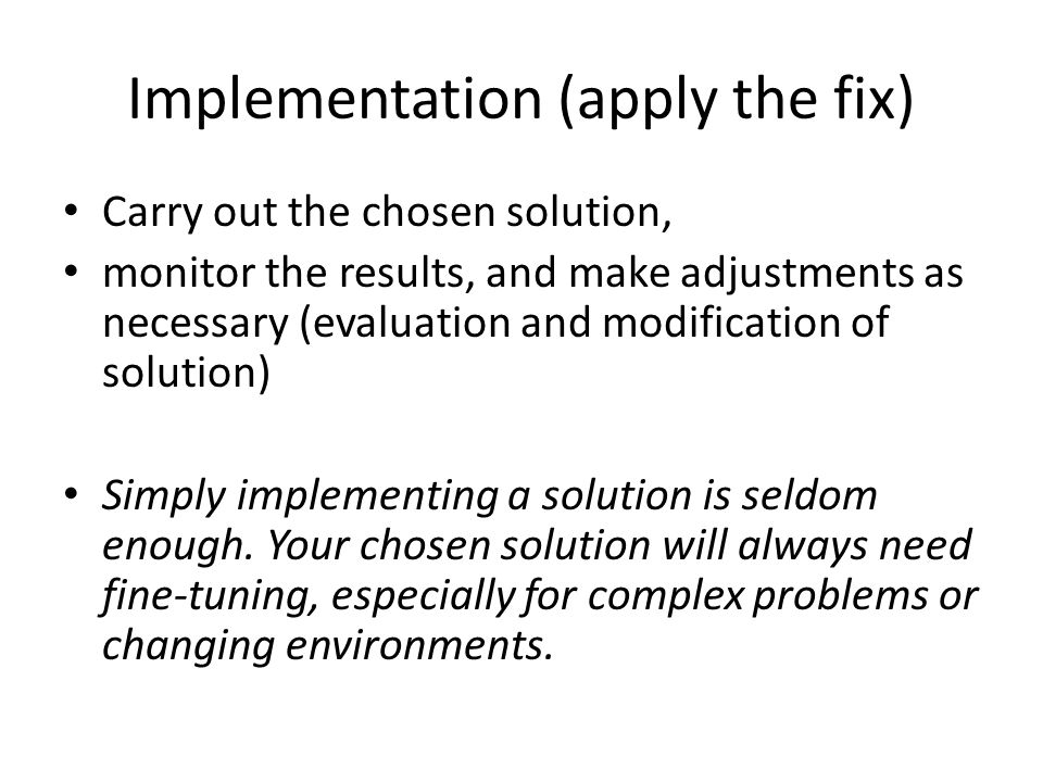 Implementation (apply the fix)