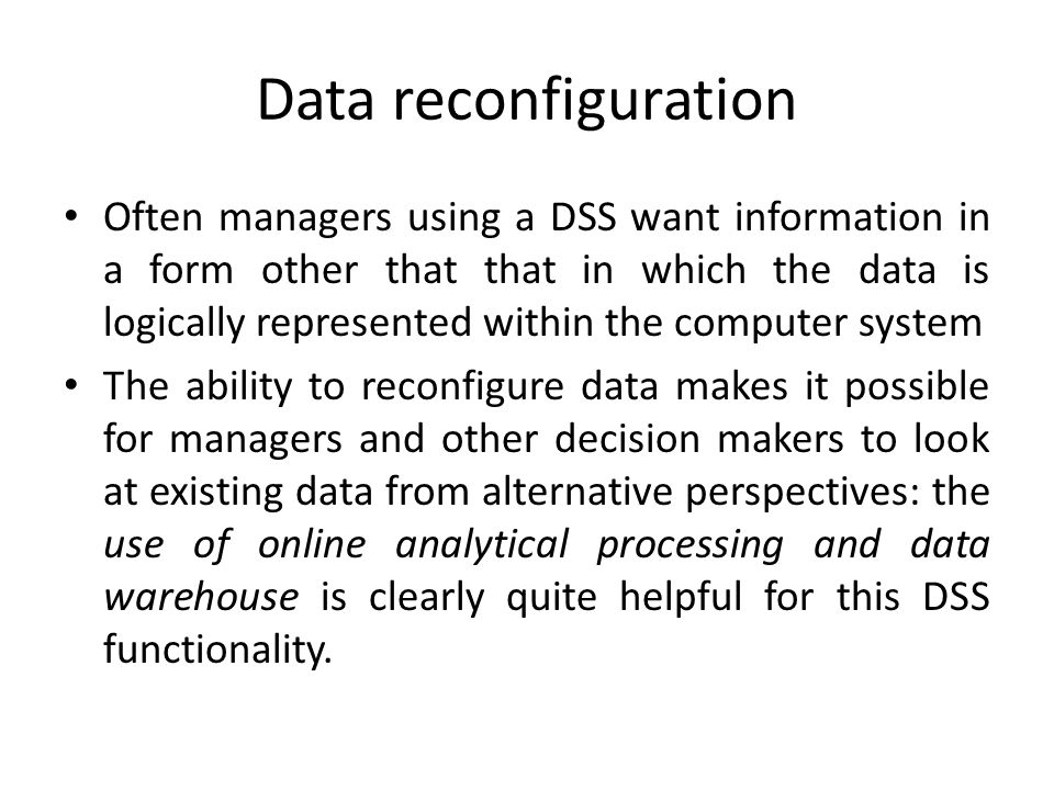 Data reconfiguration