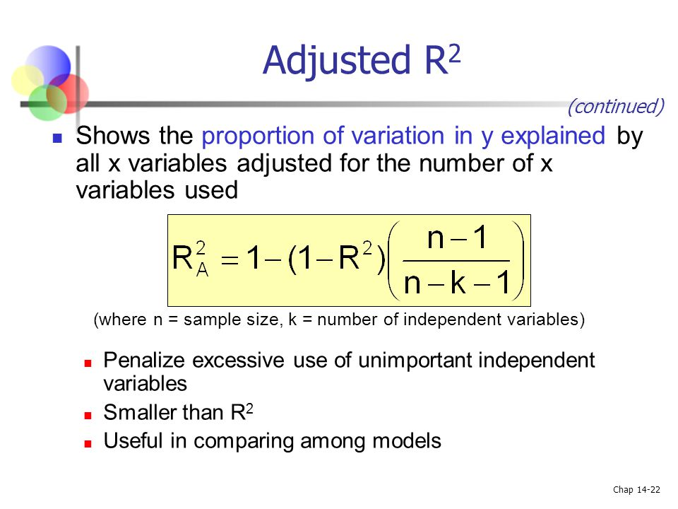 Adjusted R2 (continued) Shows the proportion of variation in y explained by all x variables adjusted for the number of x variables used.