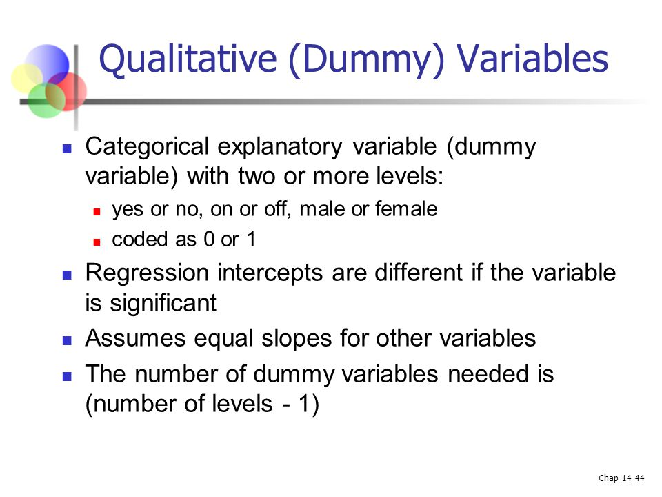 Qualitative (Dummy) Variables
