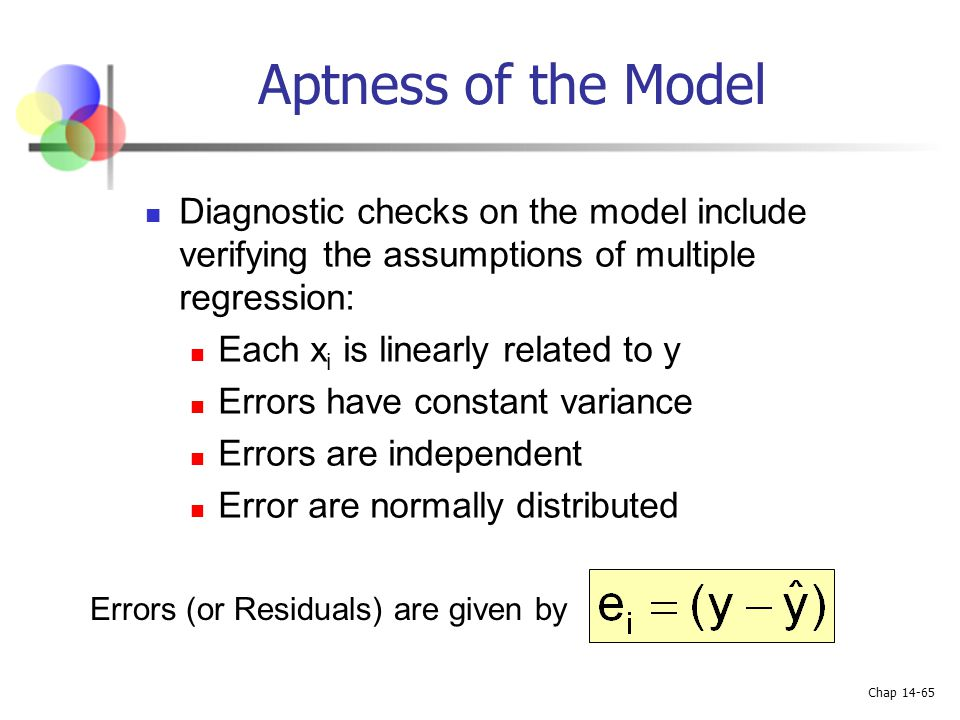 Aptness of the Model Diagnostic checks on the model include verifying the assumptions of multiple regression: