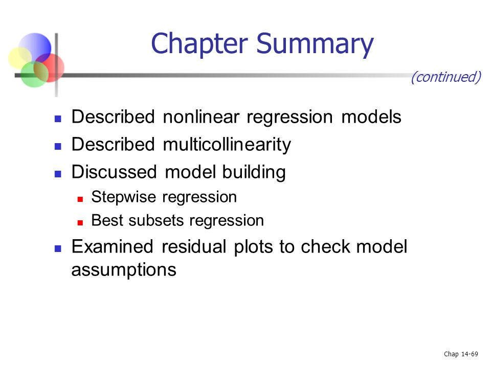 Chapter Summary Described nonlinear regression models