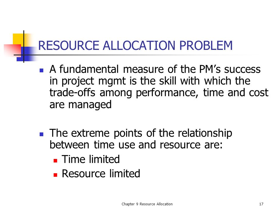 RESOURCE ALLOCATION PROBLEM