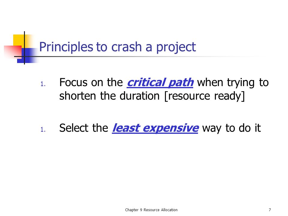 Principles to crash a project