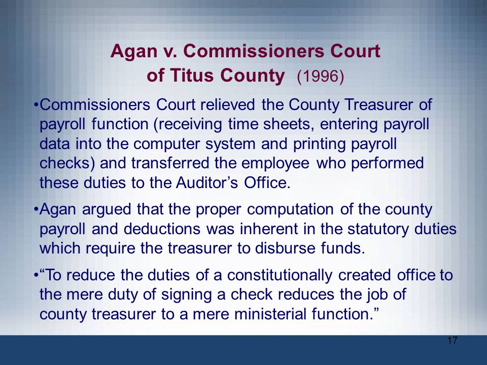 Agan v. Commissioners Court