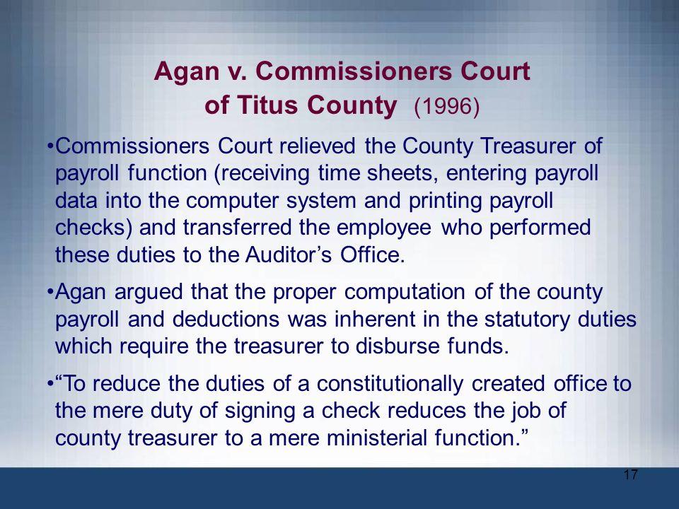 Agan v. Commissioners Court