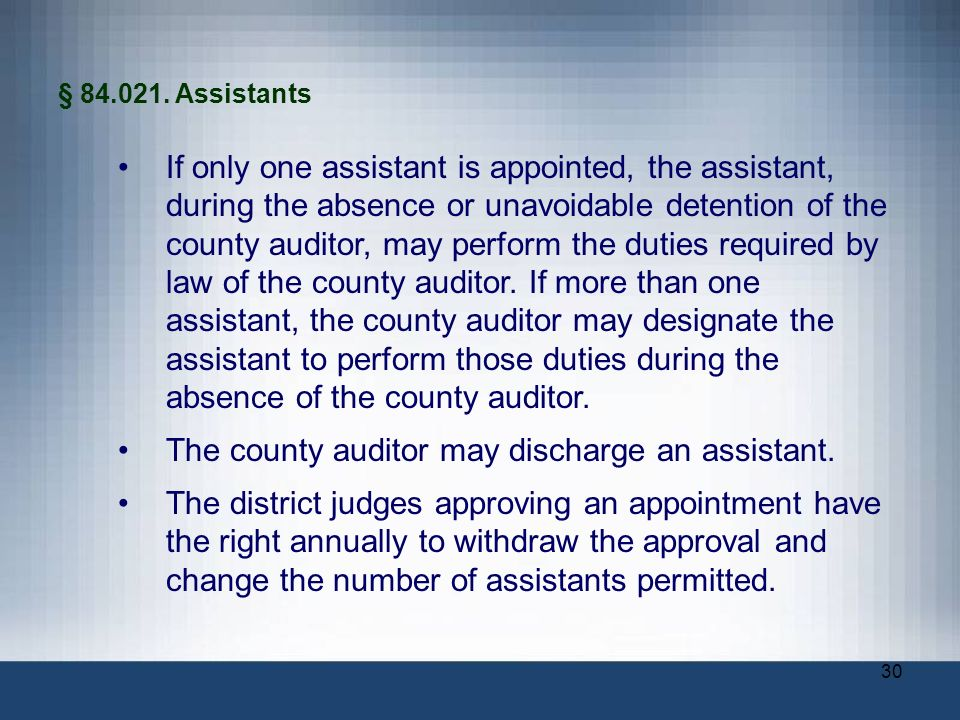 The county auditor may discharge an assistant.