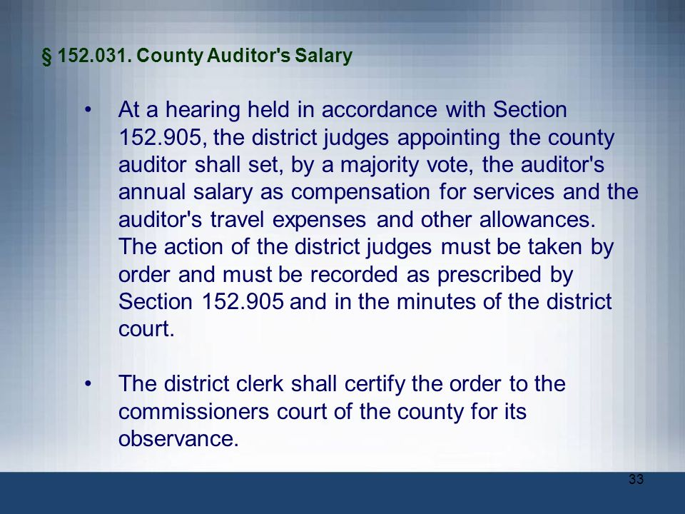 § County Auditor s Salary
