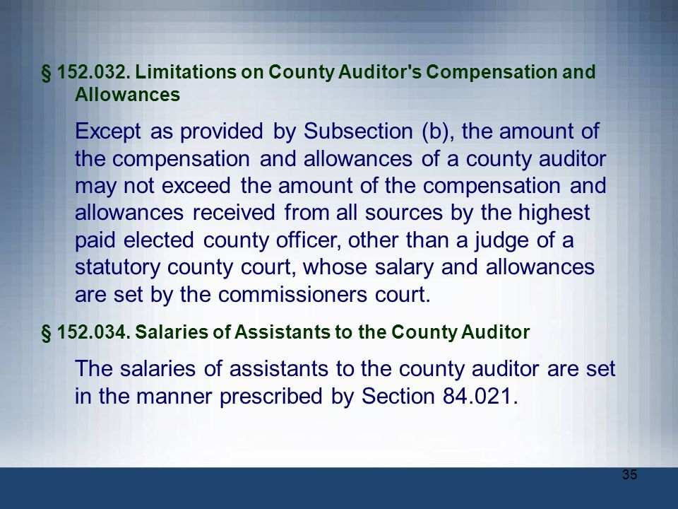 § Limitations on County Auditor s Compensation and Allowances