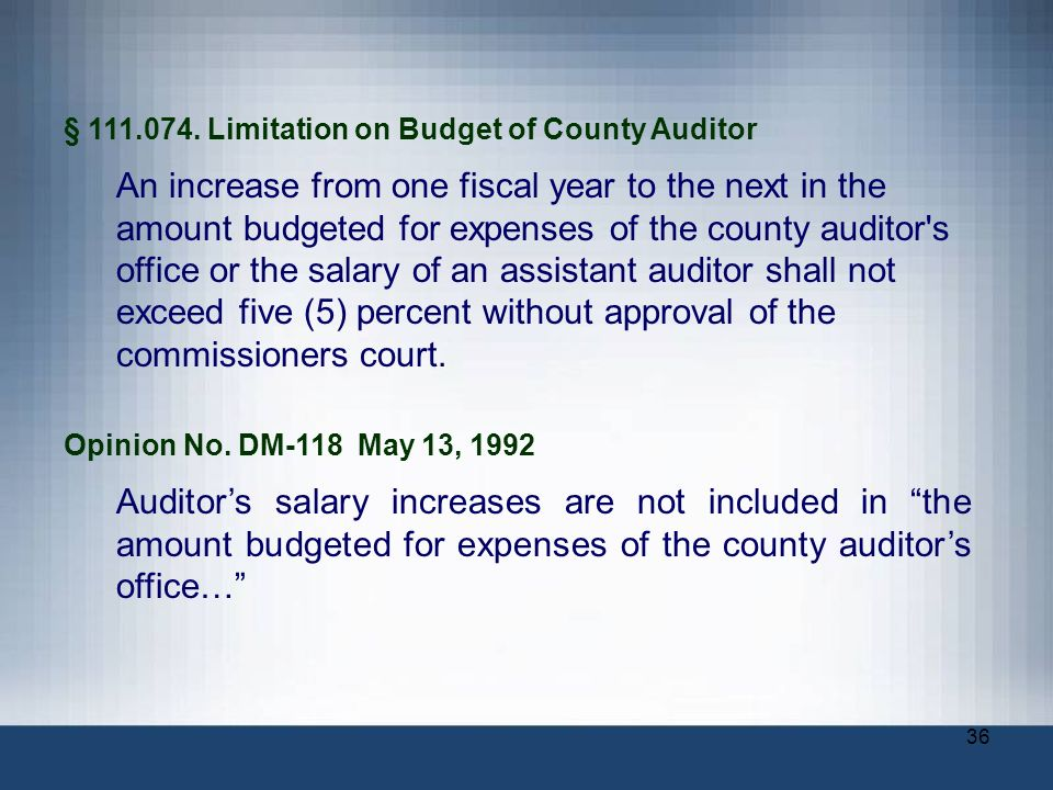 § Limitation on Budget of County Auditor