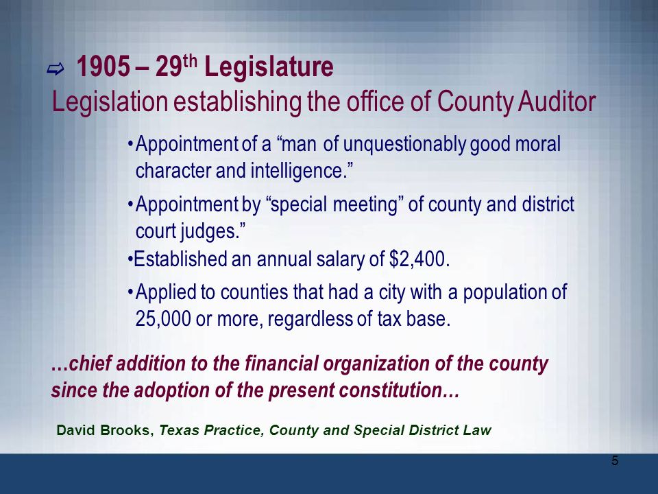 Legislation establishing the office of County Auditor