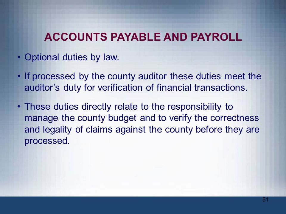 ACCOUNTS PAYABLE AND PAYROLL