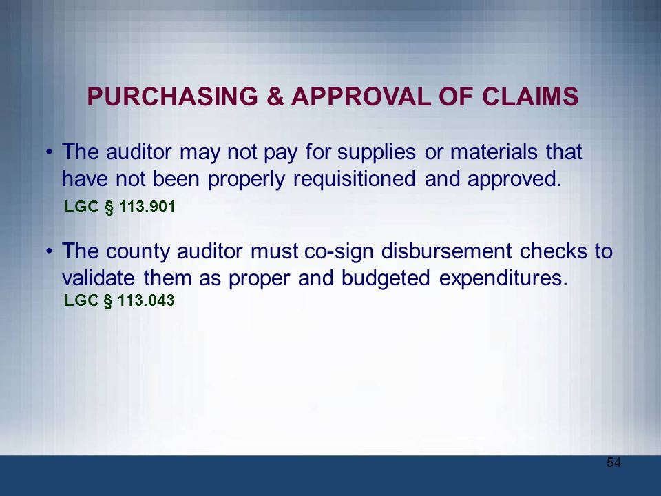PURCHASING & APPROVAL OF CLAIMS