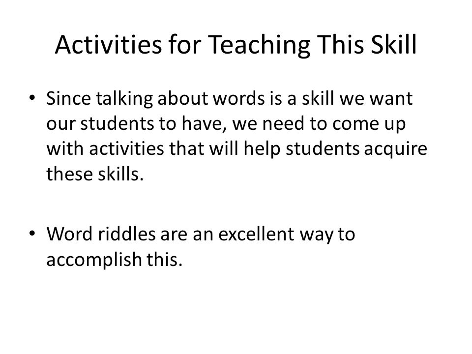 Activities for Teaching This Skill