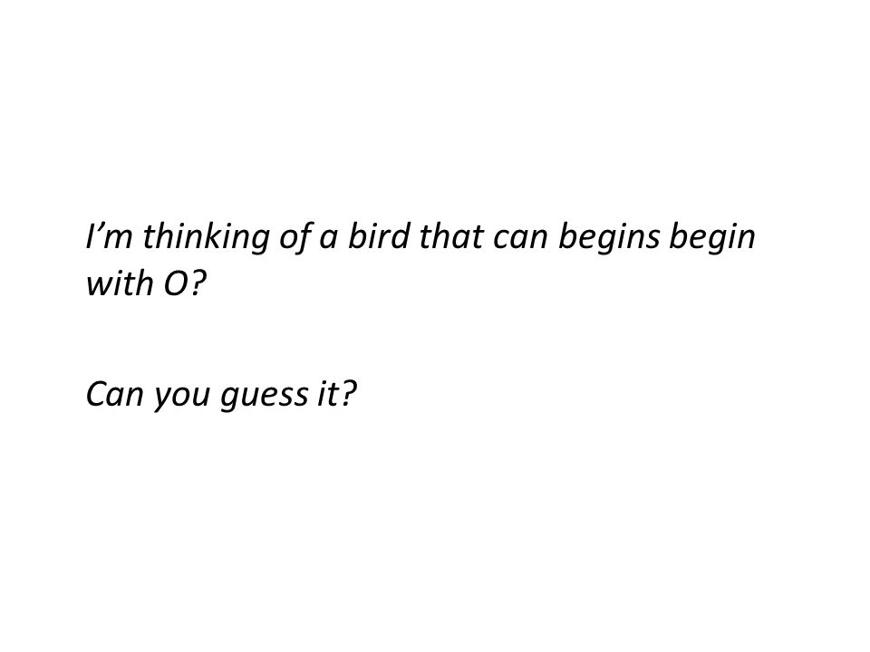 I'm thinking of a bird that can begins begin with O Can you guess it
