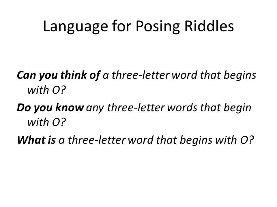 Language for Posing Riddles