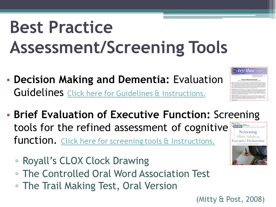 Best Practice Assessment/Screening Tools
