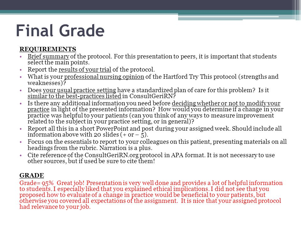 Final Grade REQUIREMENTS