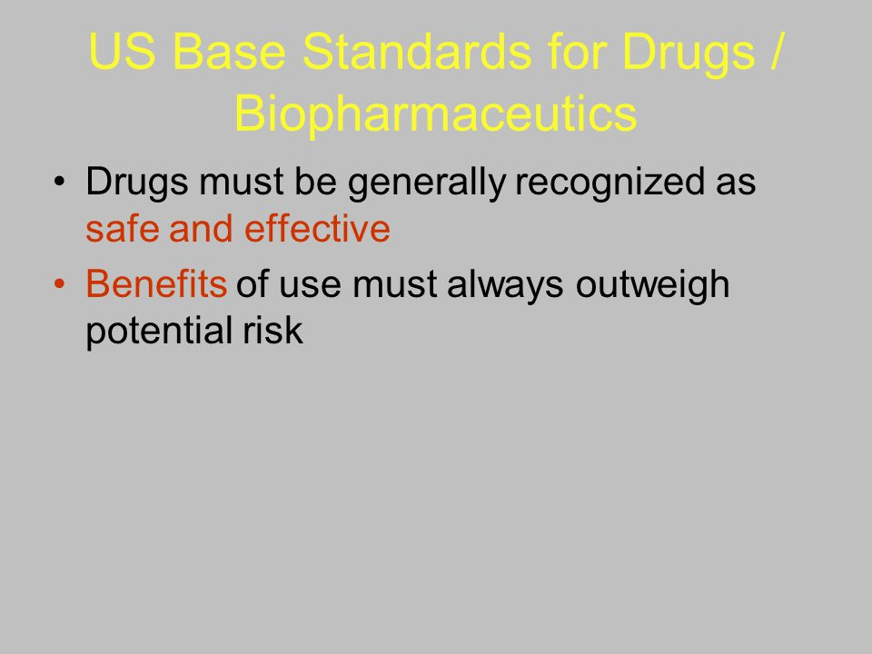 US Base Standards for Drugs / Biopharmaceutics