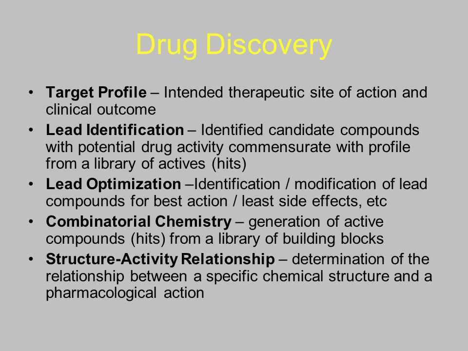 Drug Discovery Target Profile – Intended therapeutic site of action and clinical outcome.