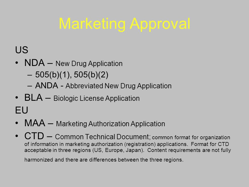 Marketing Approval US NDA – New Drug Application