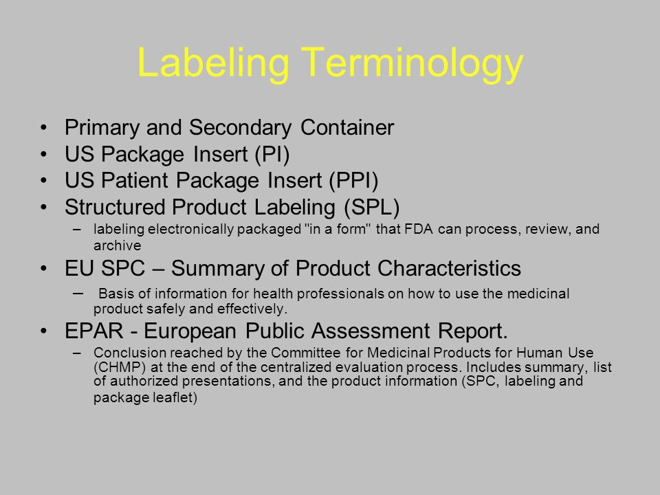 Labeling Terminology Primary and Secondary Container