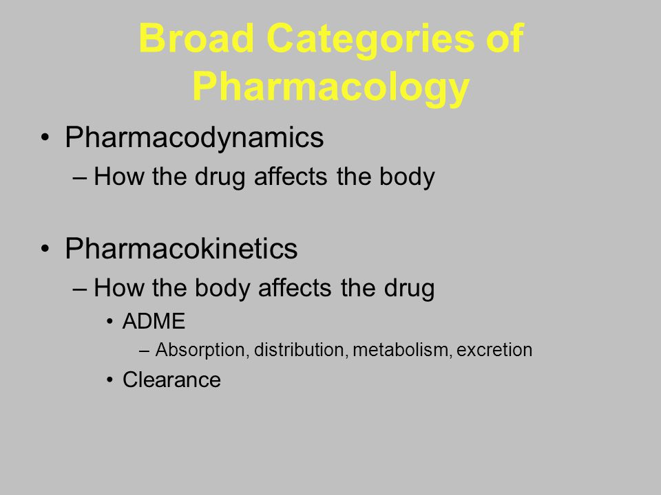Broad Categories of Pharmacology