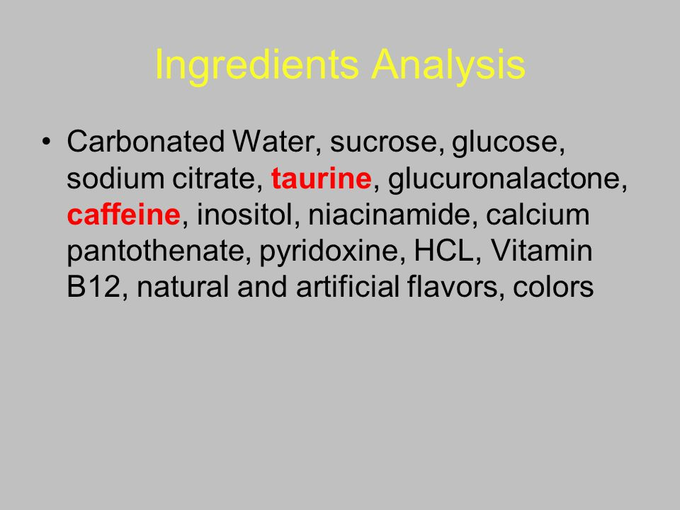 Ingredients Analysis