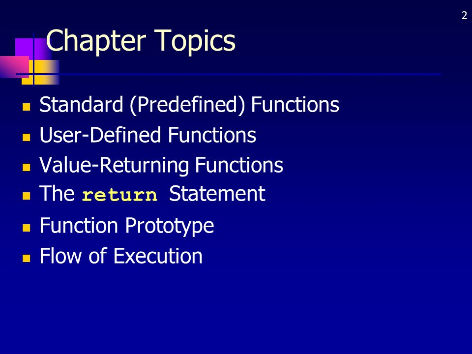 Chapter Topics Standard (Predefined) Functions User-Defined Functions