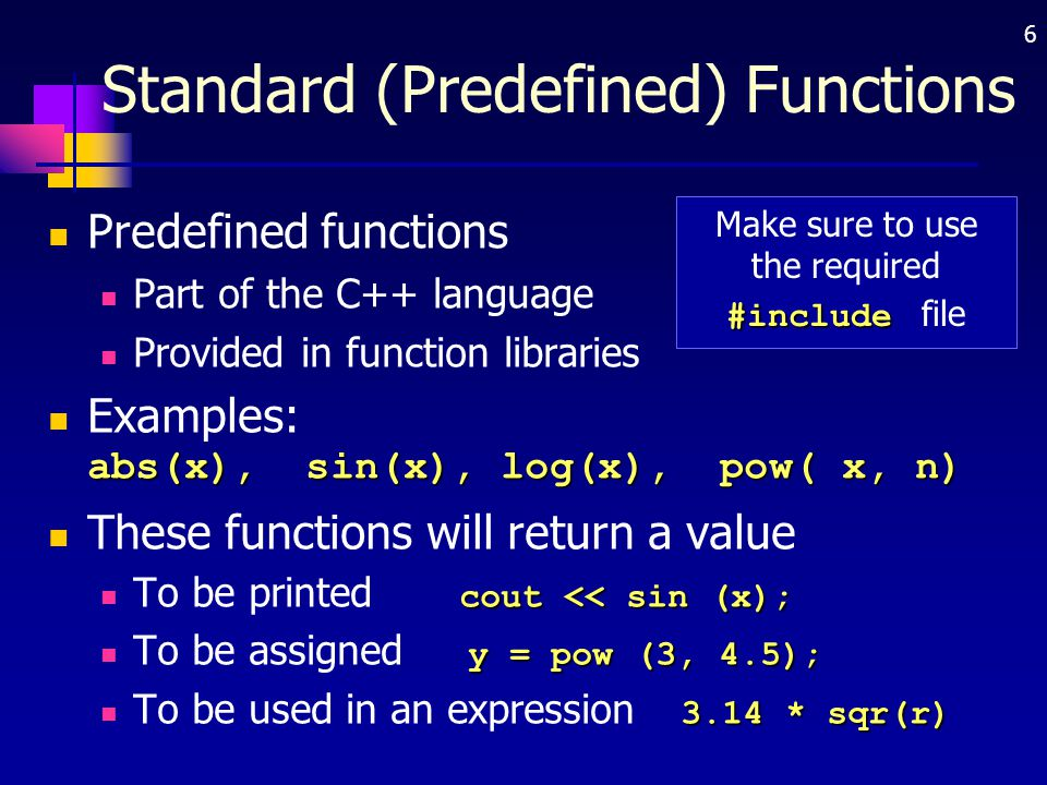 Standard (Predefined) Functions