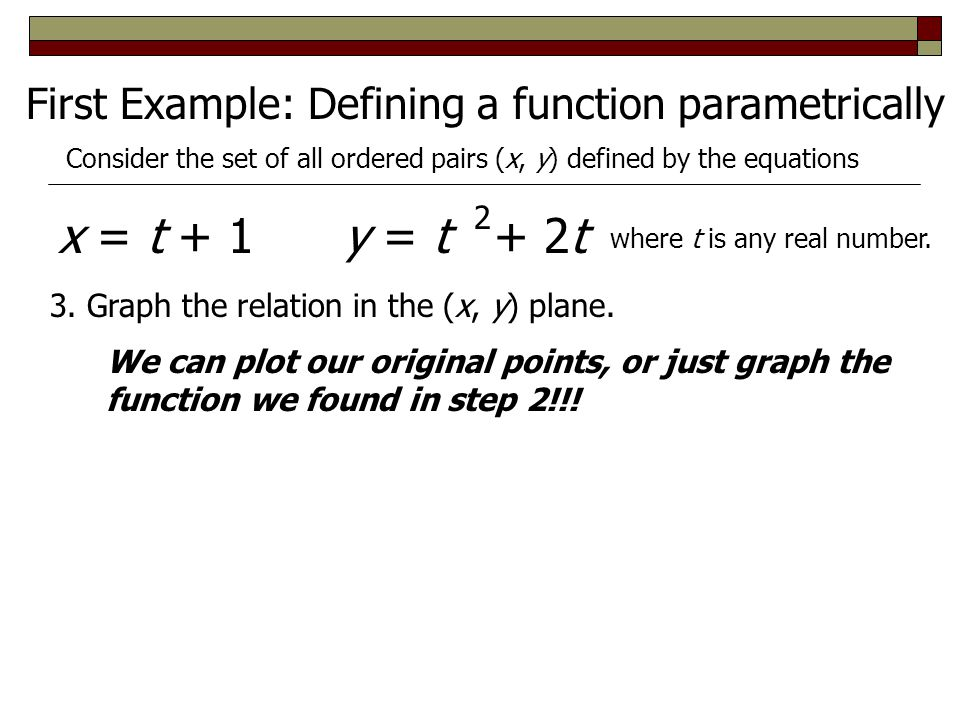 x = t + 1 y = t + 2t First Example: Defining a function parametrically