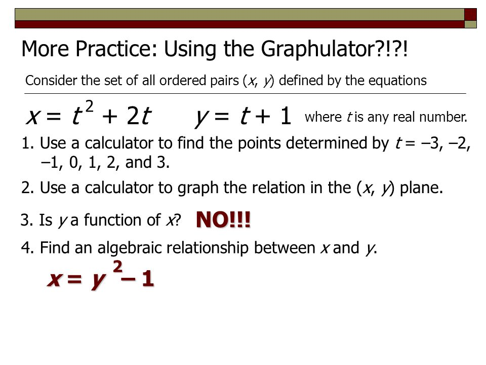 x = t + 2t y = t + 1 More Practice: Using the Graphulator ! ! NO!!!