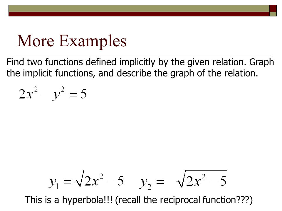 More Examples Find two functions defined implicitly by the given relation. Graph. the implicit functions, and describe the graph of the relation.