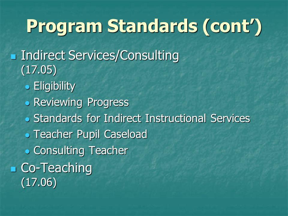 Program Standards (cont')