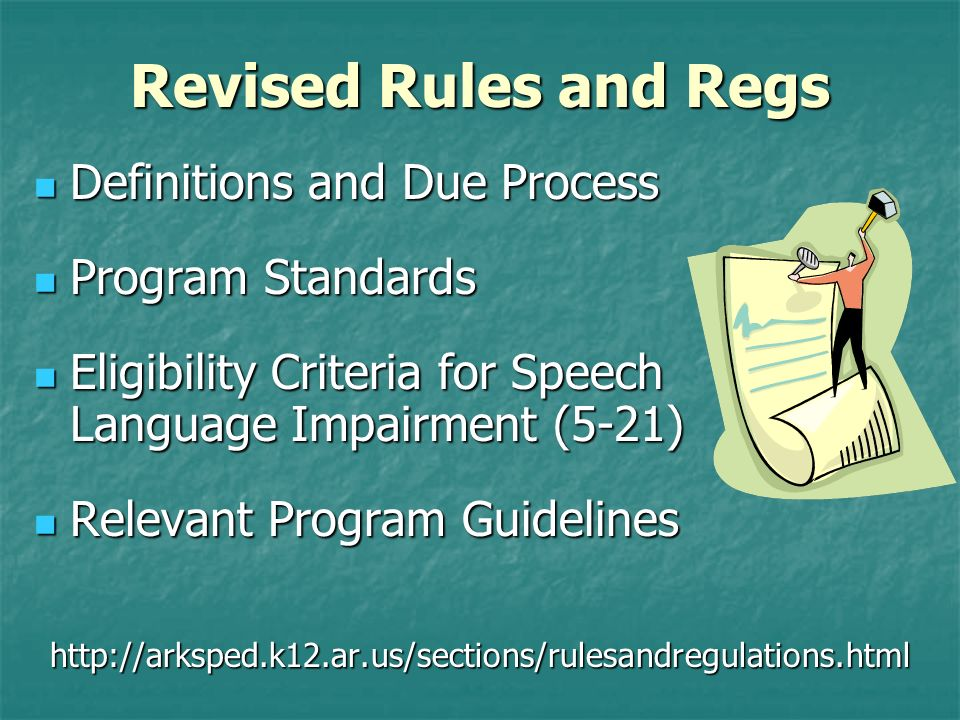 Revised Rules and Regs Definitions and Due Process Program Standards
