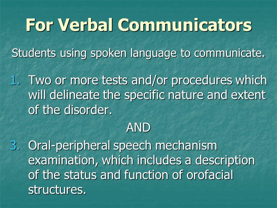 For Verbal Communicators