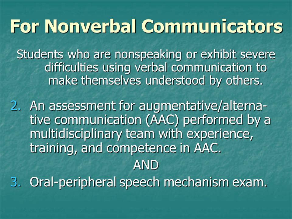 For Nonverbal Communicators