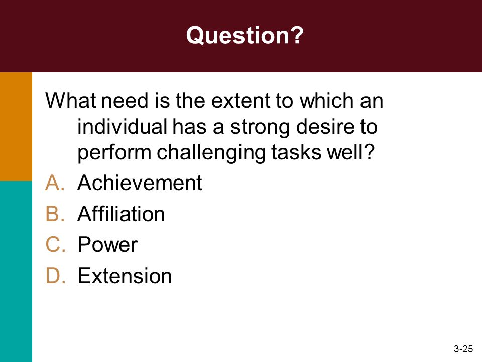Question What need is the extent to which an individual has a strong desire to perform challenging tasks well