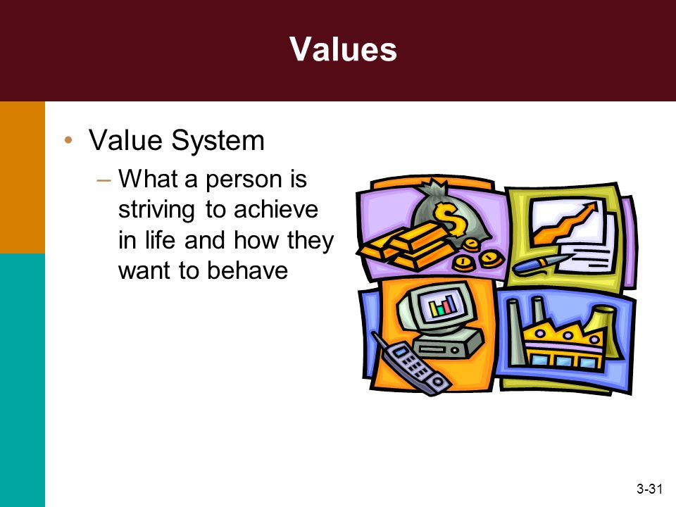 Values Value System What a person is striving to achieve in life and how they want to behave