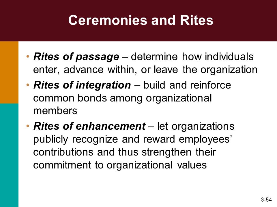 Ceremonies and Rites Rites of passage – determine how individuals enter, advance within, or leave the organization.