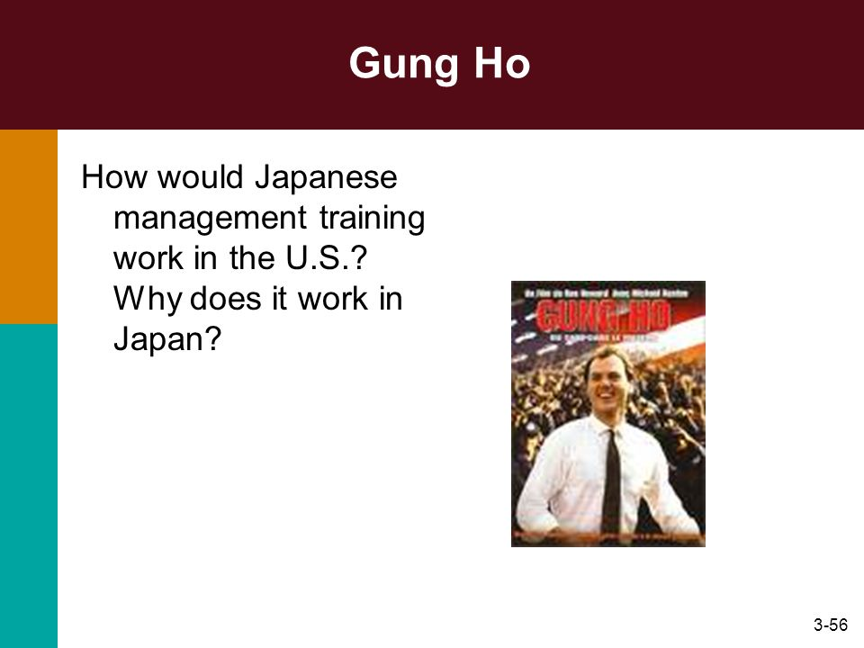 Gung Ho How would Japanese management training work in the U.S. Why does it work in Japan Attitudes, values, and culture: the manager as a person.