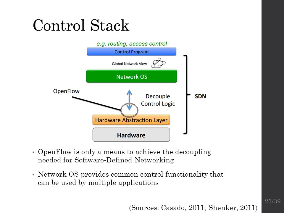 Control Stack OpenFlow is only a means to achieve the decoupling needed for Software-Defined Networking.
